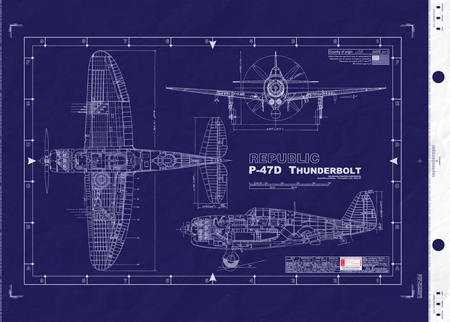 Blueprint P-47 Thunderbolt 3-View – Frank Aviation
